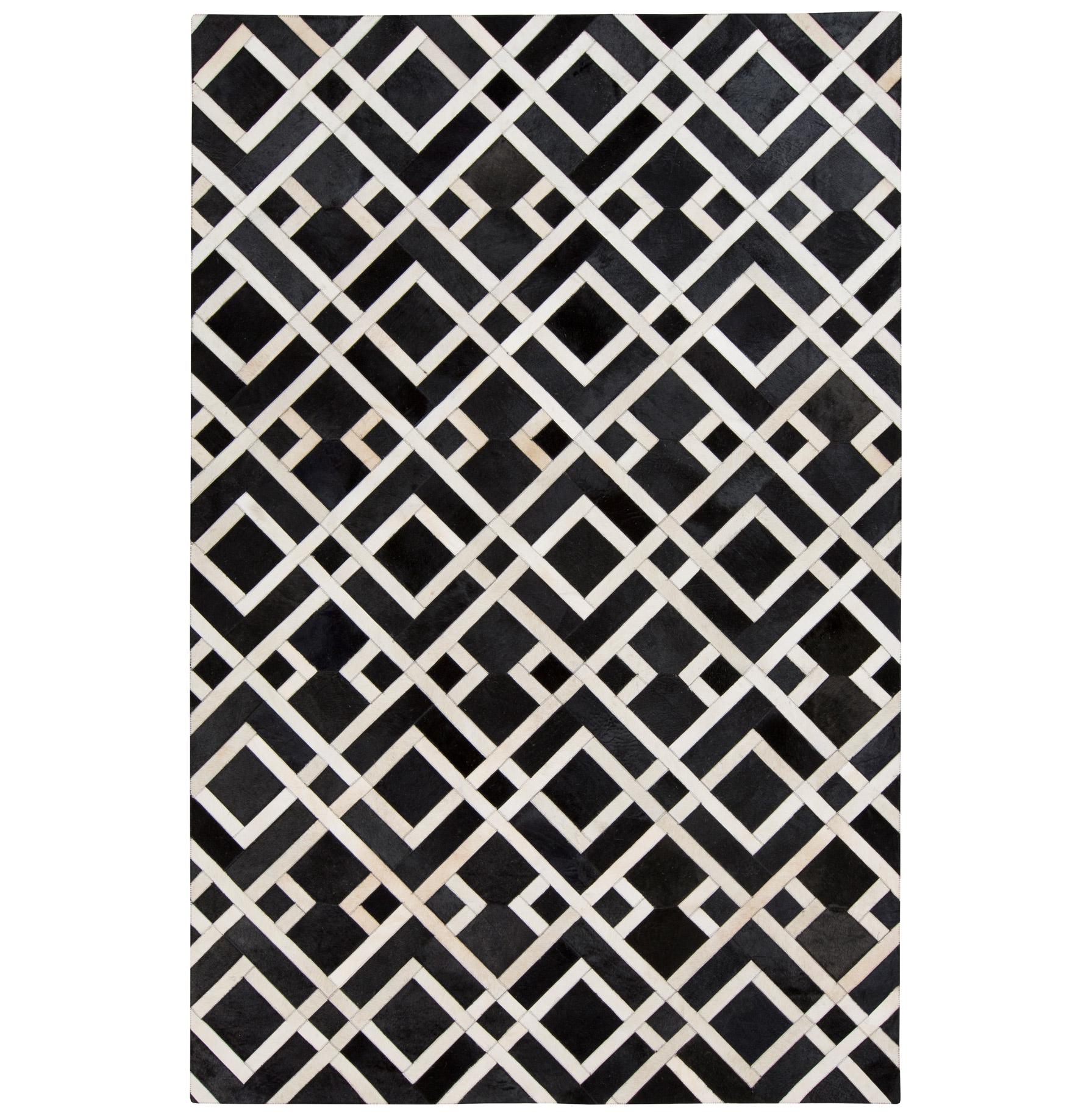 Narela Global Bazaar Diamond Black Ivory Cowhide Rug - 2x3
