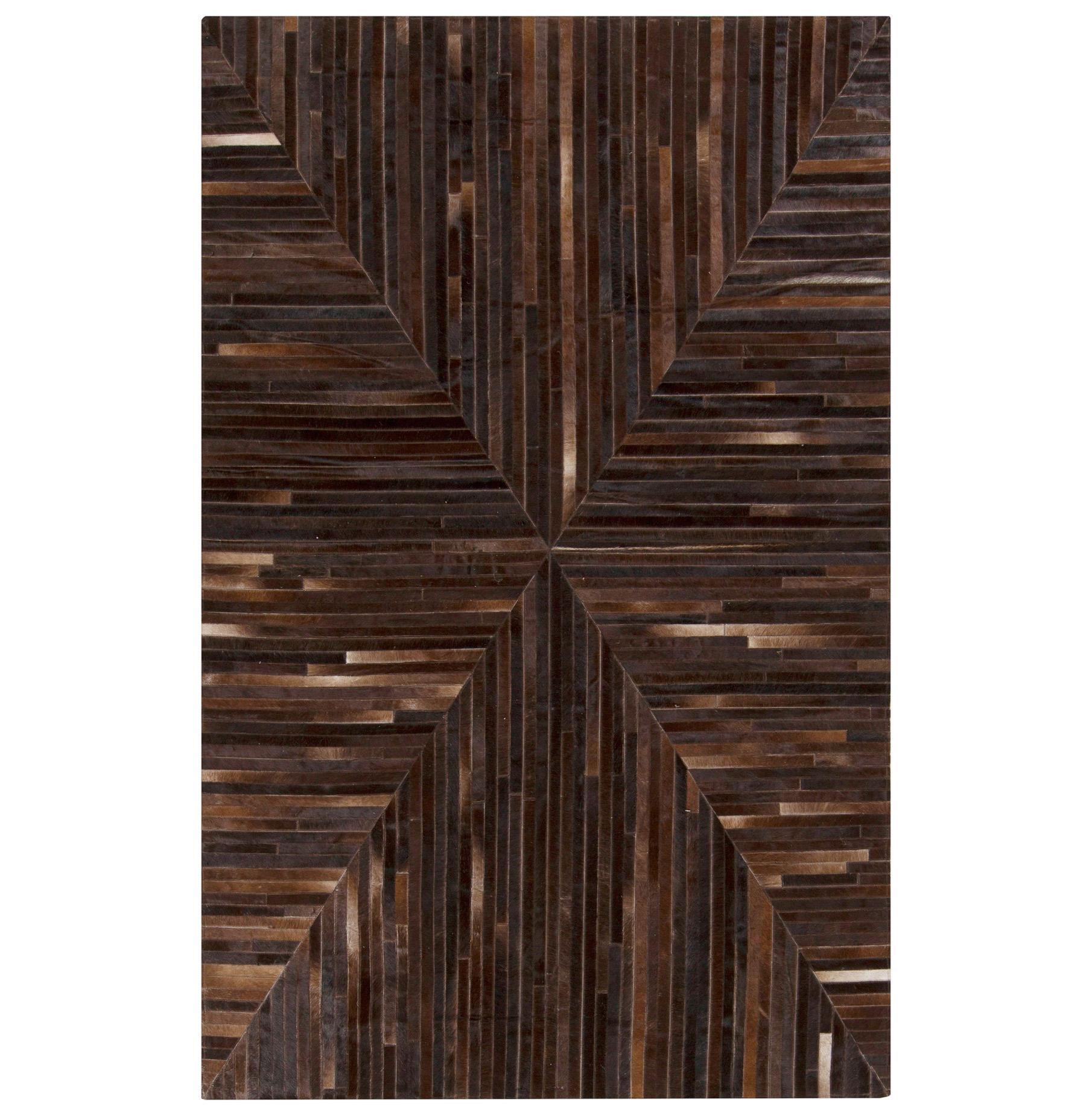 Jakarta Global Bazaar Geometric Stripes Dark Brown Cowhide Rug - 8x10