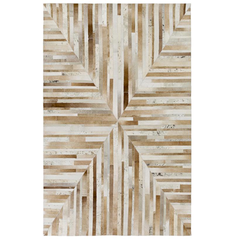 Jakarta Global Bazaar Geometric Stripes Brown Beige Cowhide Rug - 5x8