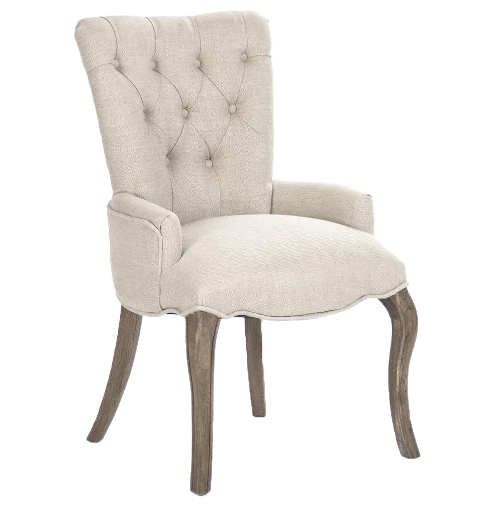 Iris Natural Linen Reclaimed Oak Tufted Vanity Dining Chair with Ring