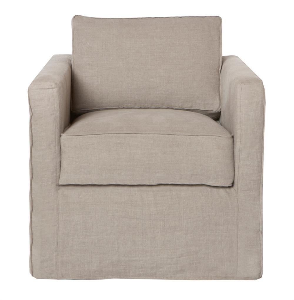 Vista Modern Classic Slip Cover Natural Linen Swivel Arm Chair