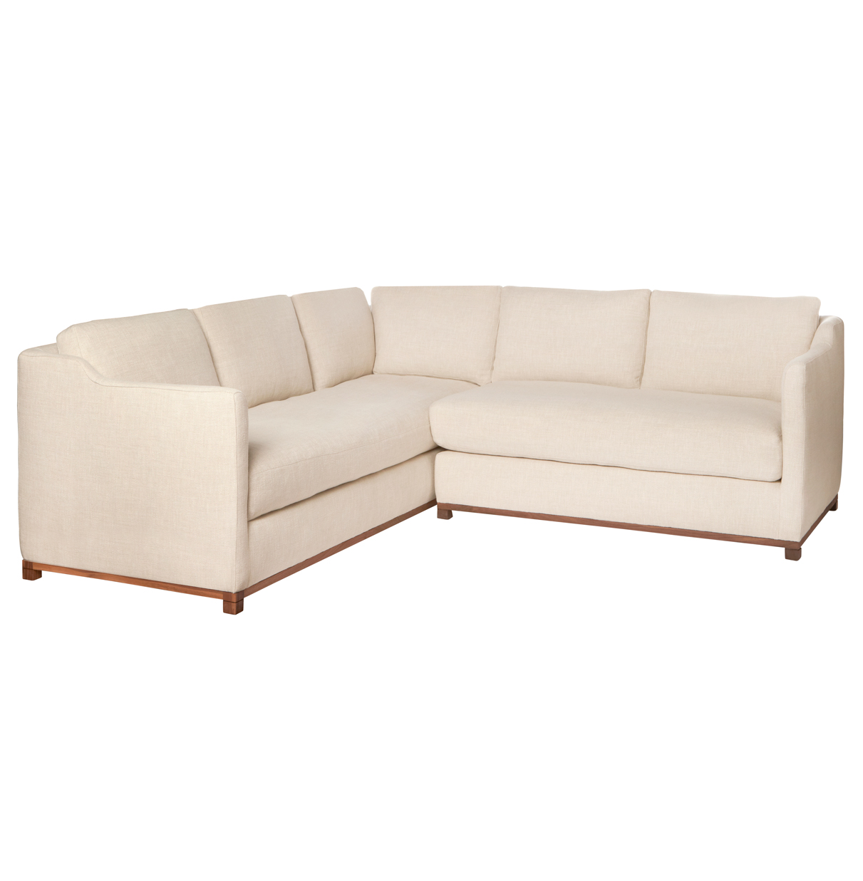 Kardell Mid Century Modern Beige Linen Sectional - Right Arm Facing - 90x91