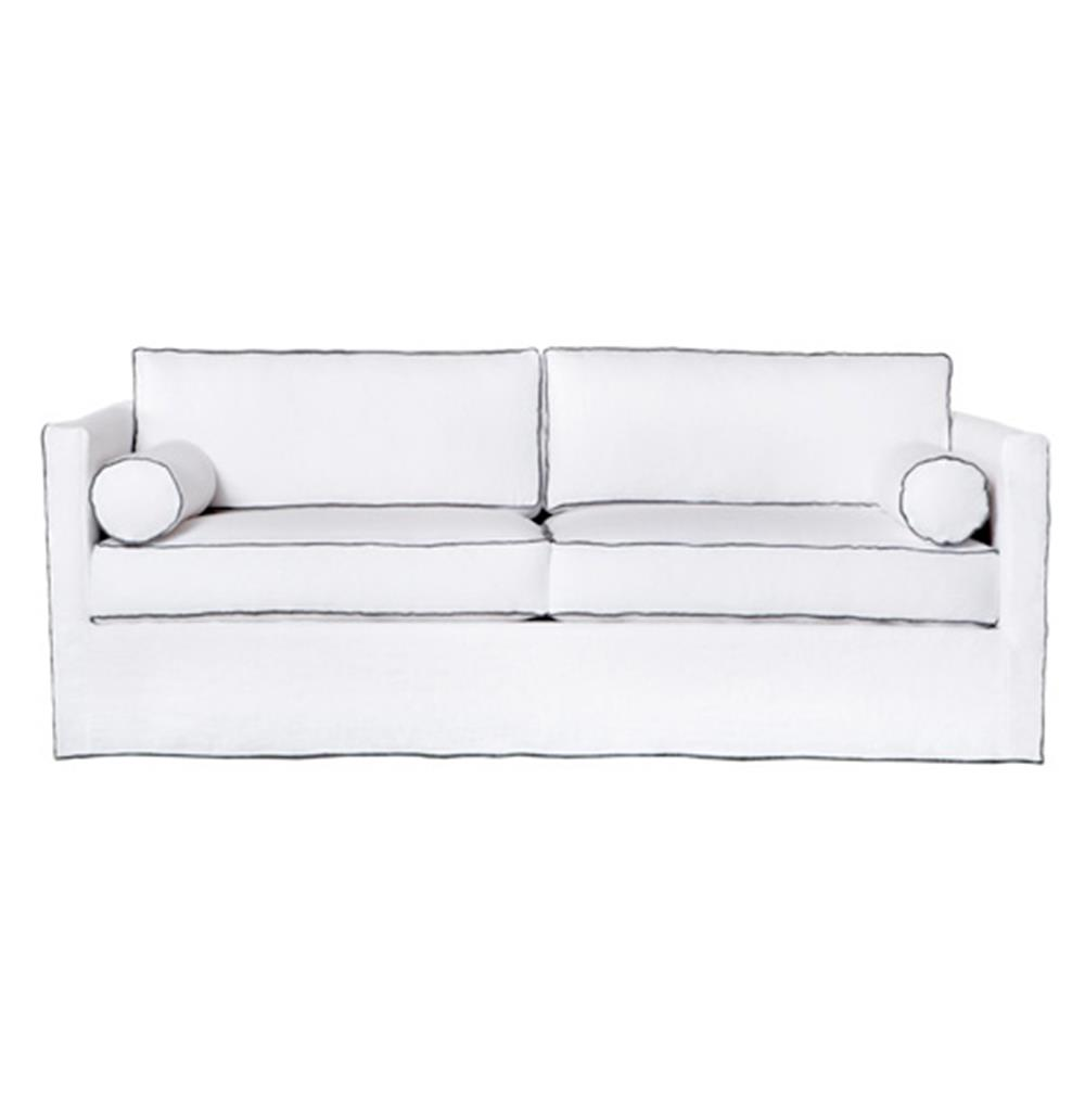Vista Modern Classic White Grey Contrast Piping Slip Covered Sofa - 84 Inch