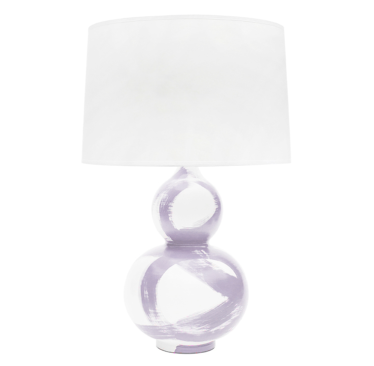 Hailey Hand Painted Gourd Brushstroke Lilac Table Lamp