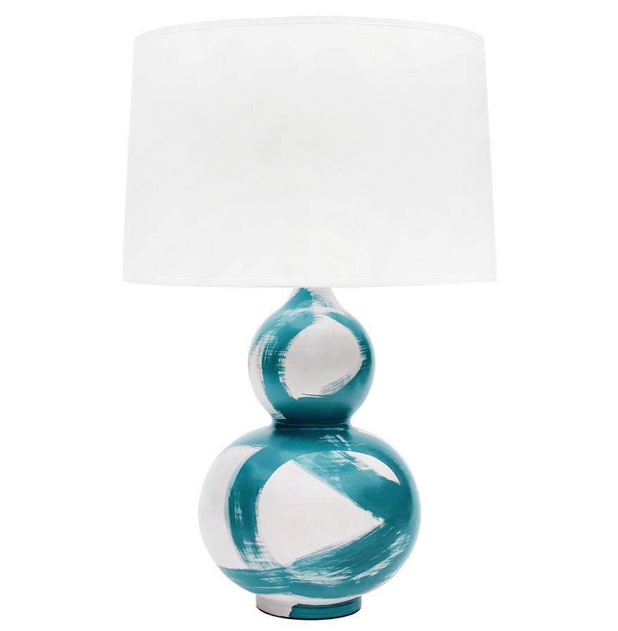 Hailey Hand Painted Gourd Shape Brushstroke Peacock Blue Teal Table Lamp