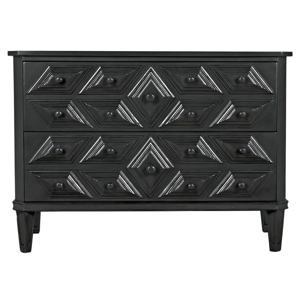 Adee Global Bazaar Diamond Carved 2 Drawer Black Dresser