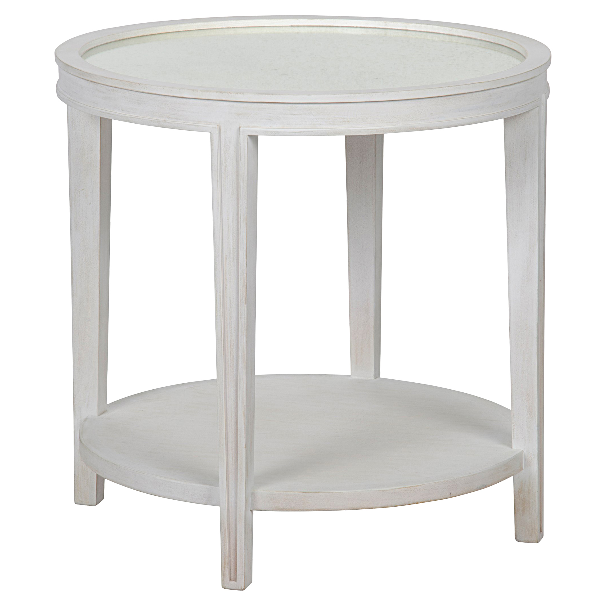 Sita French Country White Washed Antique Mirror Side Table