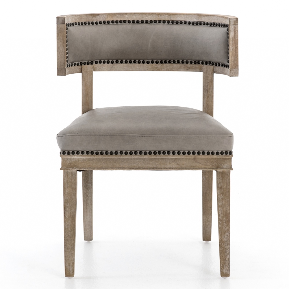 Livingston Modern Classic Curved Back Light Grey Leather Dining Chair