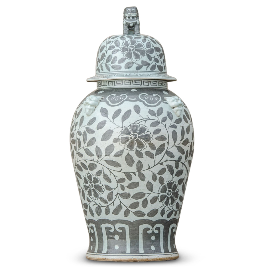 Jiangjun Vintage Style Chinese Porcelain Grey Painted Ginger Jar