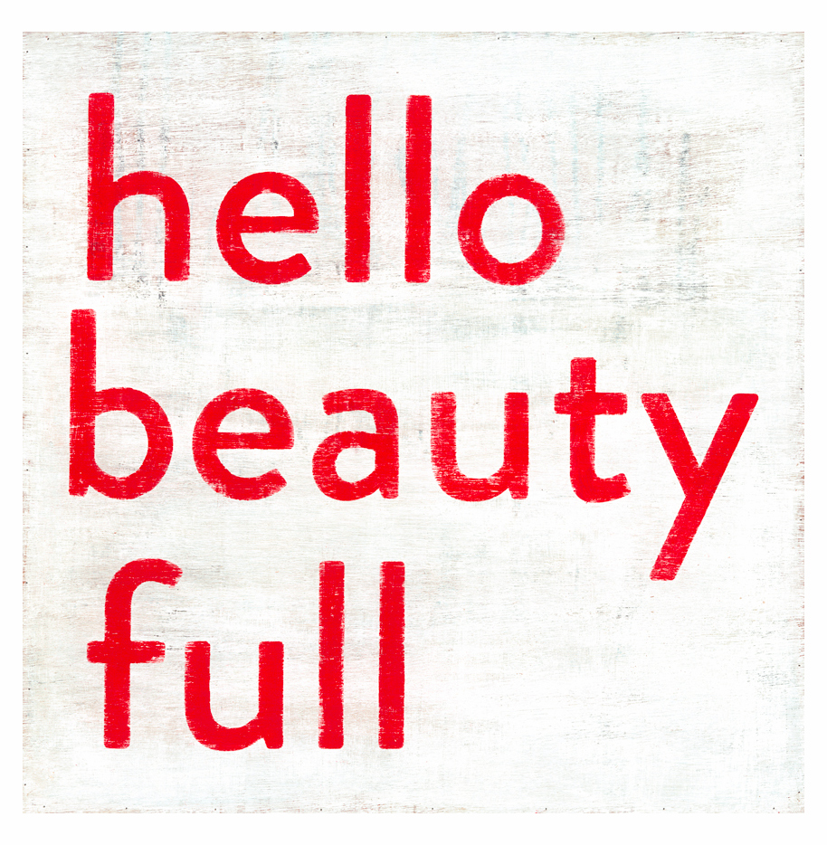 Hello Beauty Full Simplicity Vintage Reclaimed Wood Wall Art - 12 Inch