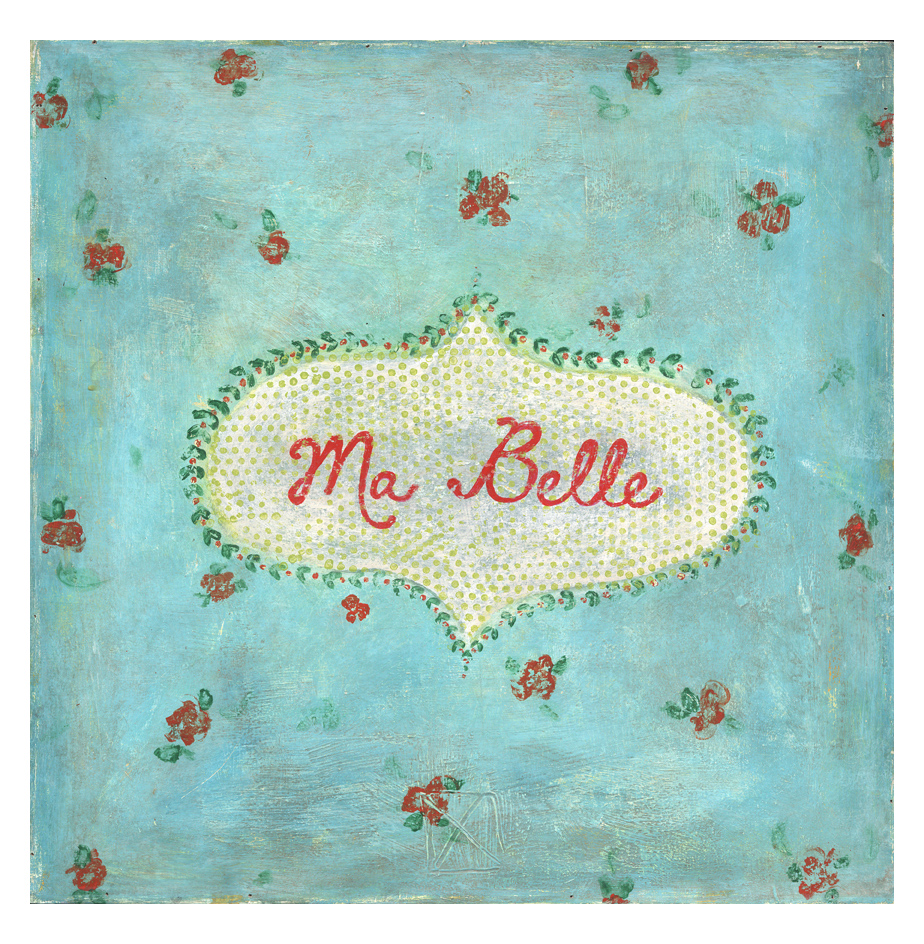 Ma Belle Turquoise Red Painted Vintage Wall Art - 24 Inch