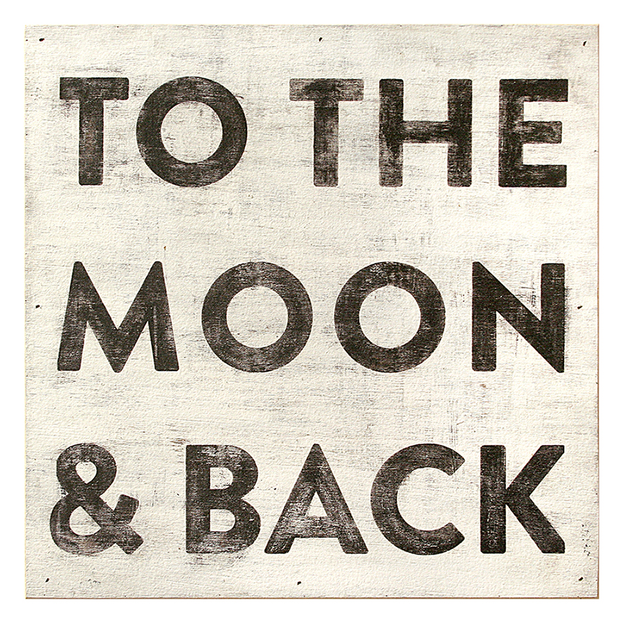 To The Moon and Back Reclaimed Wood Vintage Wall Art - 12 Inch