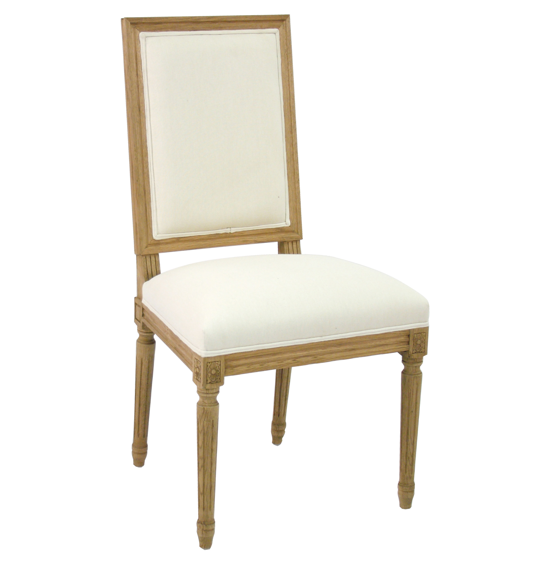 Pair Louis French Country White Cotton Dining Chair