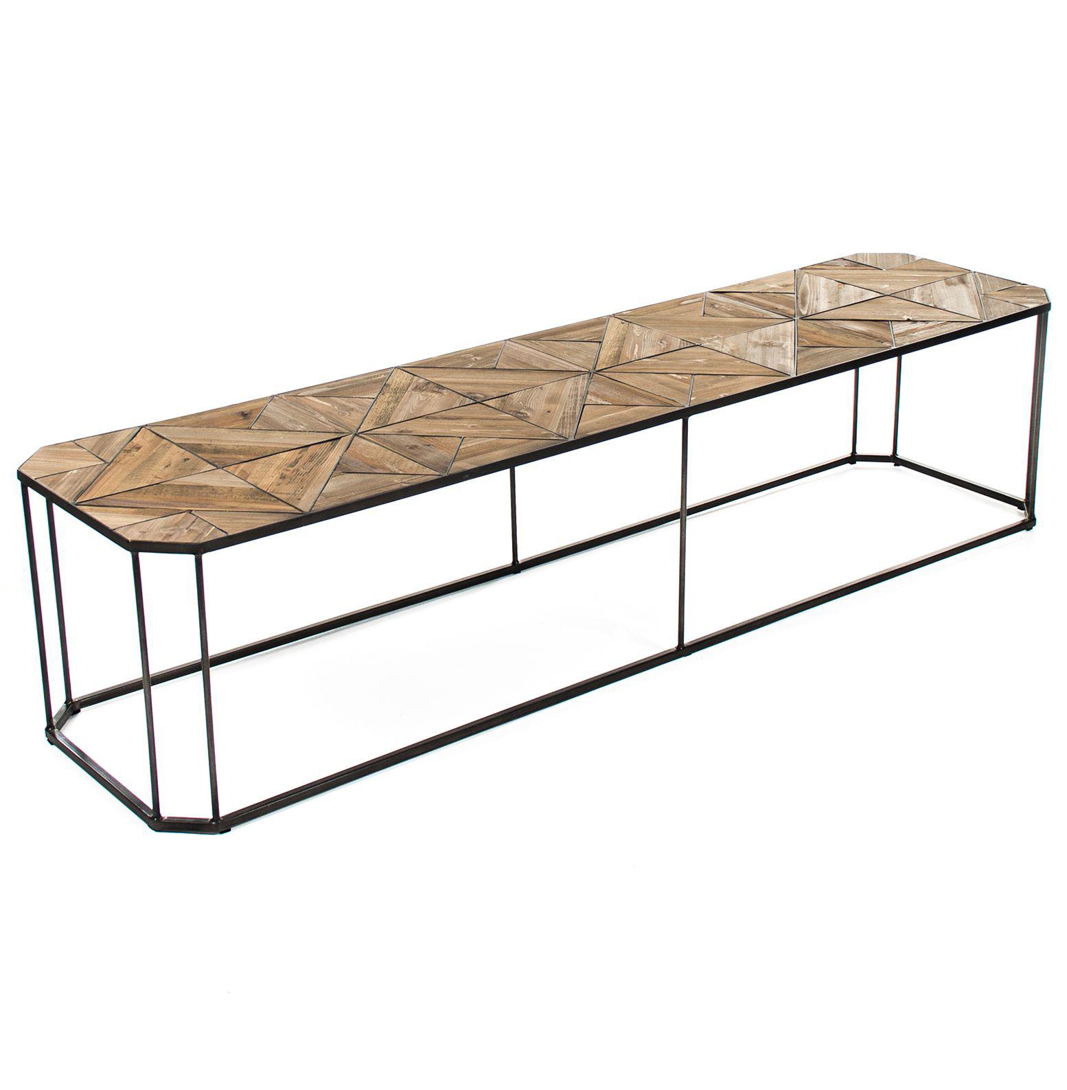 Kieran Reclaimed Wood Parquet Industrial Iron Long Bench Coffee Table