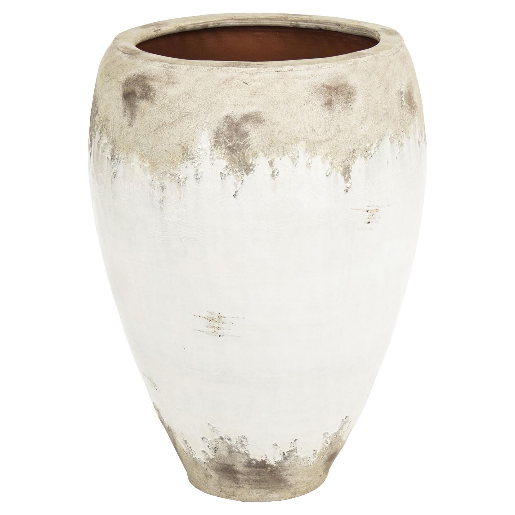Siena Large White Rustic Distressed Ceramic Wide Top Floor Vase