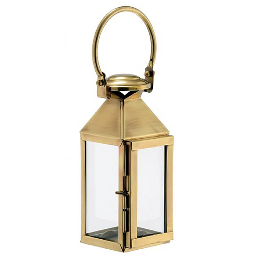 Lacey Hollywood Regency Brass Glass Candle Lantern - 15.3