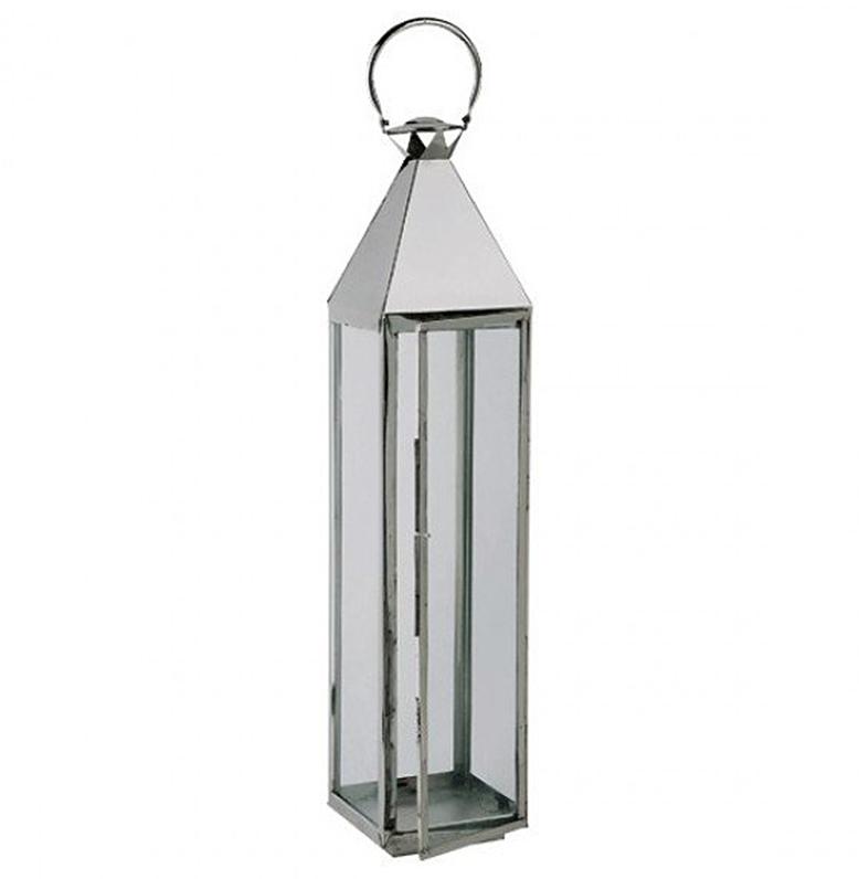 Hillsboro Coastal Beach Nickel Glass Candle Lantern - 46 Inch