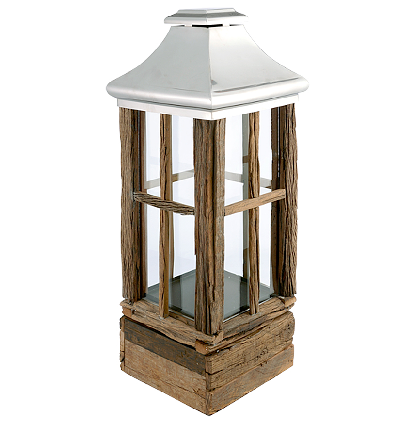 Russell Rustic Lodge Reclaimed Wood Steel Candle Lantern - 43.3 Inch