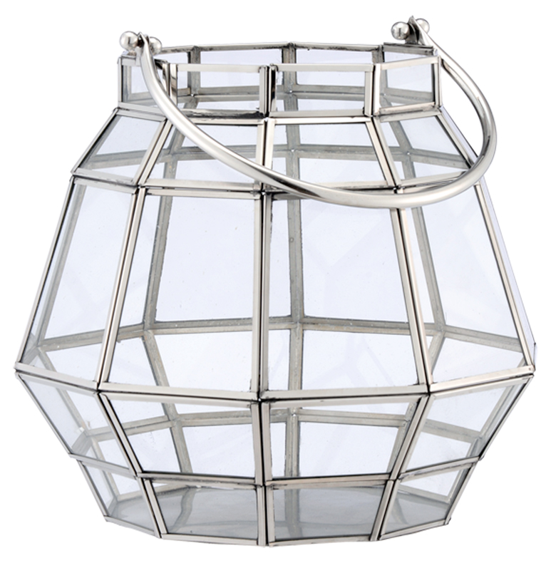 Gibson Hollywood Regency Glass Milk Can Candle Lantern - 13 Inch
