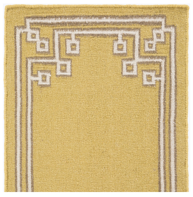 Lockhart Hollywood Regency Mustard Yellow Hand Woven Wool Rug - 18 Inch Sample