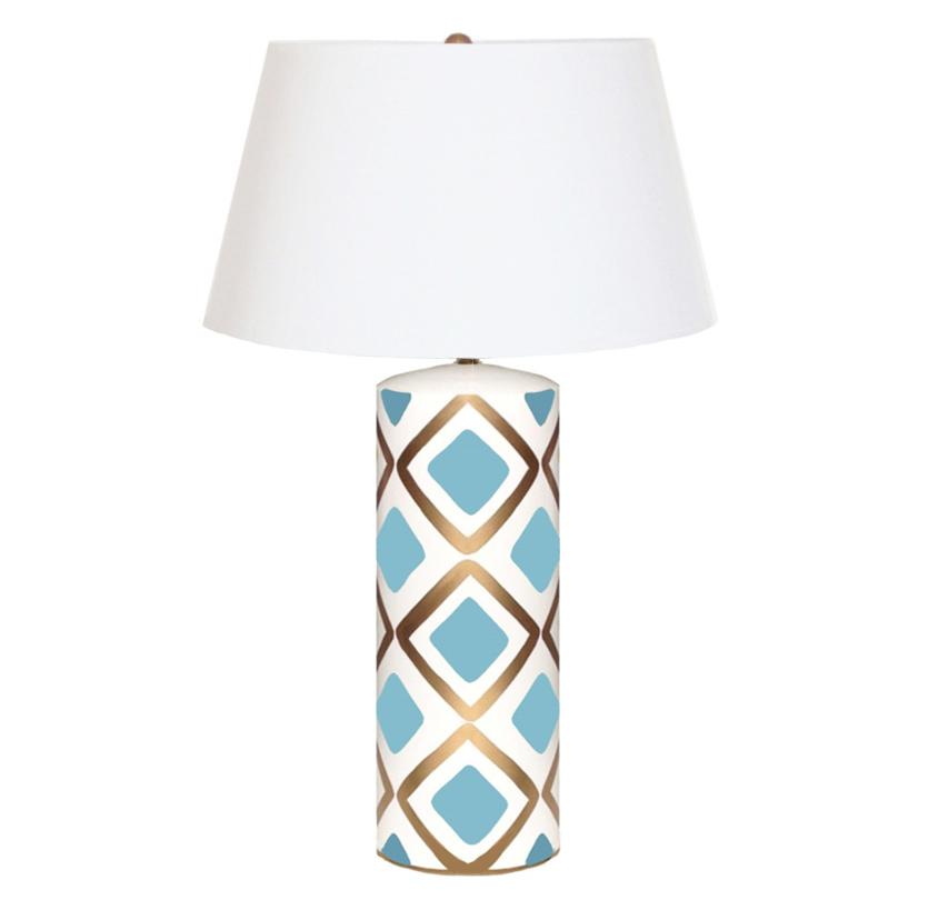 Barrett Hand Painted Diamond Gold Turquoise Table Lamp