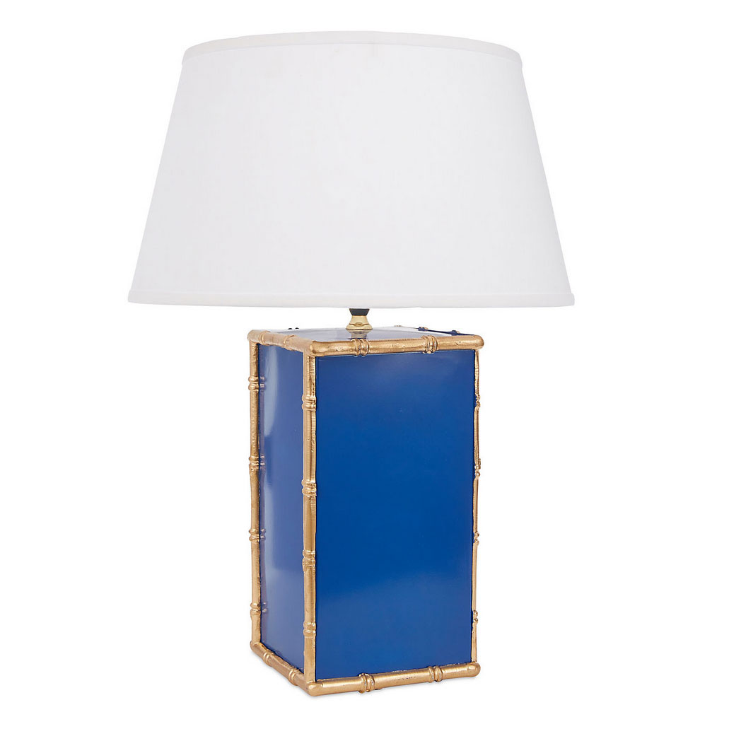 Bassford Hand Painted Bamboo Trim Navy Table Lamp