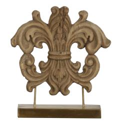 French Country Wood Carved Crest Sculpture on Stand | LI-S9-07-08
