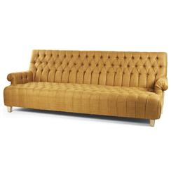 Alex European Traditional Amber Silk Tufted Sofa | Kathy Kuo Home