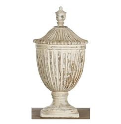 Oriana French Country Antique White Ceramic Decorative Urn
