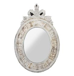Judy French Country Oval White Wash Mirror | HS005