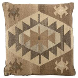 Orhan 22 Inch Brown and Beige Wool Kilim Pillow