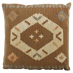 Kismet 22 Inch Brown, Blue & Brick Orange Kilim Wool Pillow | HS021