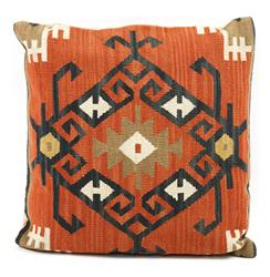 Piruz Carnelian Black Beige Kilim Wool Pillow - 22x22