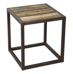 Lisbeth Urban Rustic Reclaimed Elm End Table | Kathy Kuo Home
