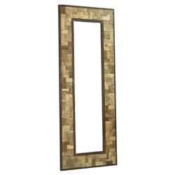 "Reclaimed Wood Metal 30"" X 80"" Leaning Floor Mirror 