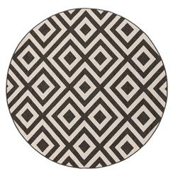 "Gennifer Modern Graphic Black Ivory Outdoor Rug - 8'9"" Round"