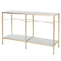 Grauman Hollywood Regency Classic Gold Marble Console Table