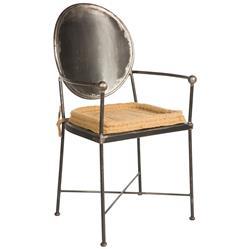 Schoolhouse Industrial Loft Steel Burlap Seat Dining Armchair