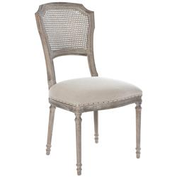Santos French Country Caned Upholstered Dining Chairs - Set of 2