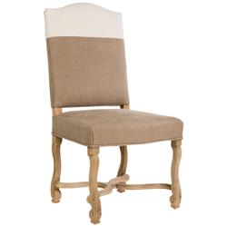 Monaco French Country Brown White Upholstered Dining Chair - Pair
