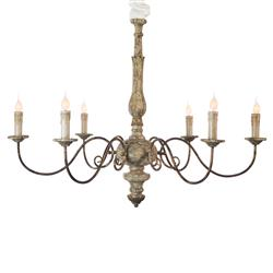 Avignon French Country Rustic Gold Iron Scroll Chandelier