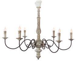 Avignon French Country Weathered Grey Iron Scroll Chandelier