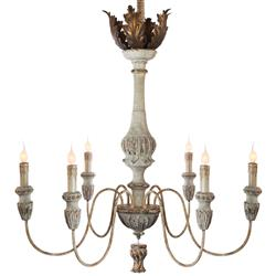 Tutu French Country Weathered White Antique Gold Chandelier