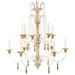 Fontaine French Country 2 Tier Distressed White Beaded Chandelier