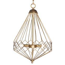 Open Gold Teardrop Industrial Loft Cage Pendant