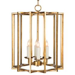 Starlight Hollywood Regency Gold Vertical Star Cage Pendant