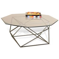 Alexis Geometric Antique Brass Octagonal Coffee Table