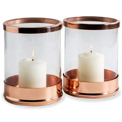 Anel Rose Gold Glass Modern Hurricane Candle Holder - Set of 2