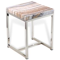 Zephyr Modern Natural Polished Onyx Silver Metal Side End Table
