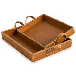 Interlude Interlude Greer Rustic Lodge Tan Leather Trays - Set of 2